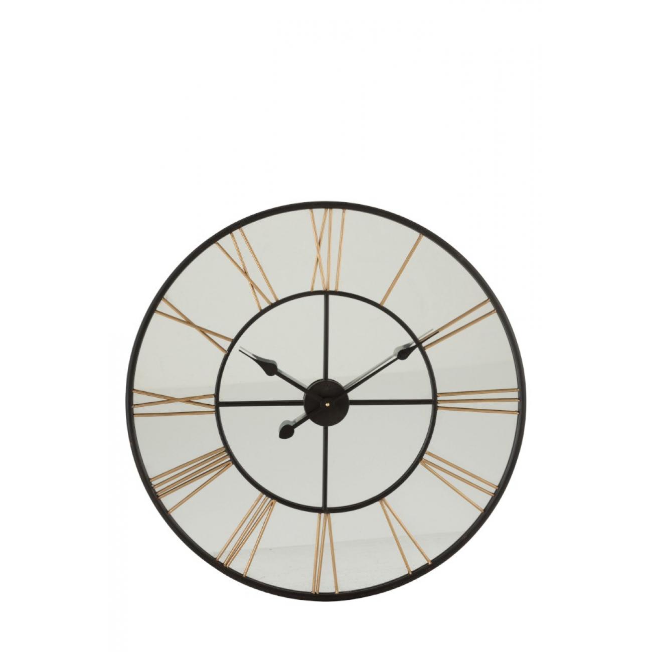 Настенные часы J-LINE круглые в металлическом корпусе  зеркальные диаметр 70 см