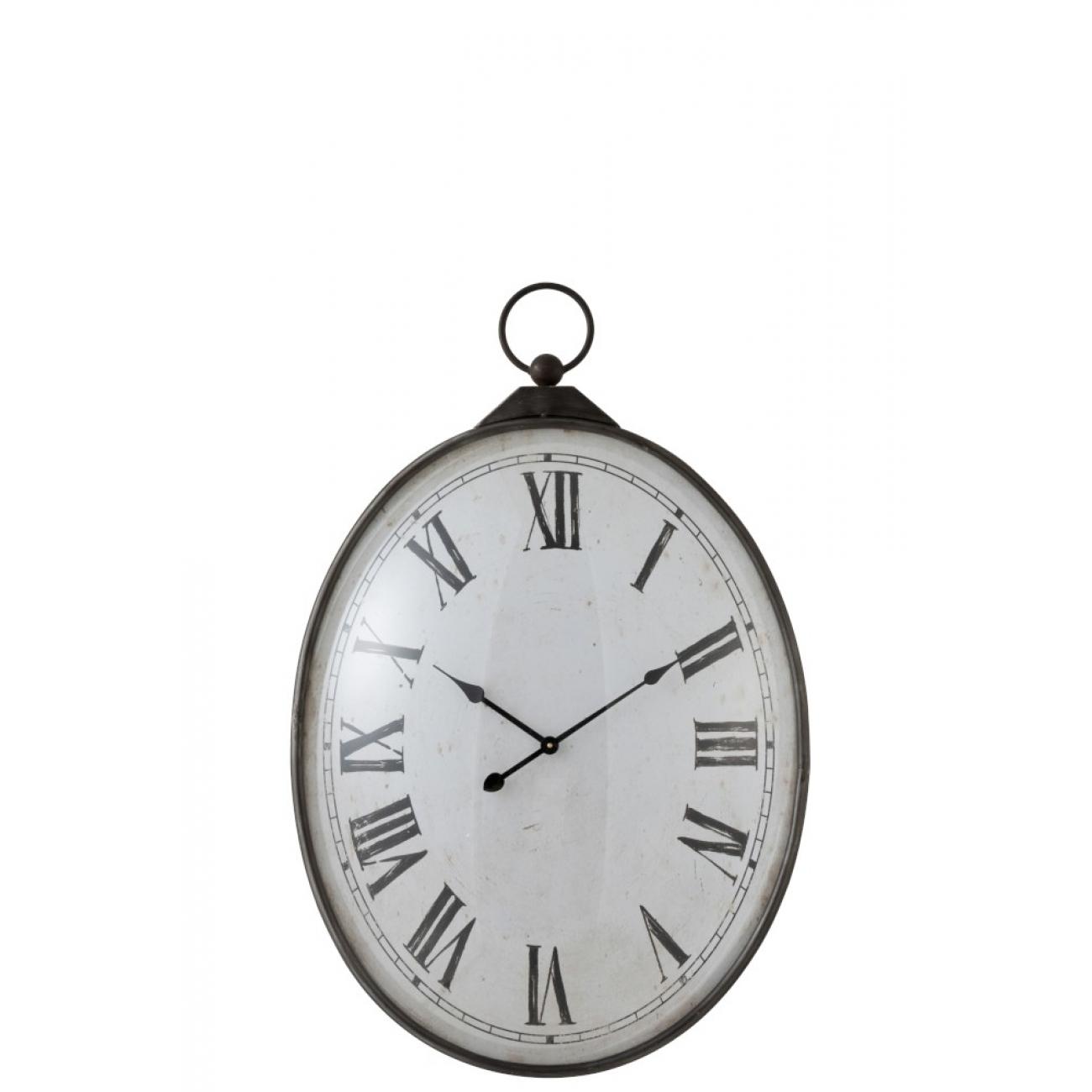 Настенные часы J-LINE овальные  в металлическом корпусе с римскими цифрами