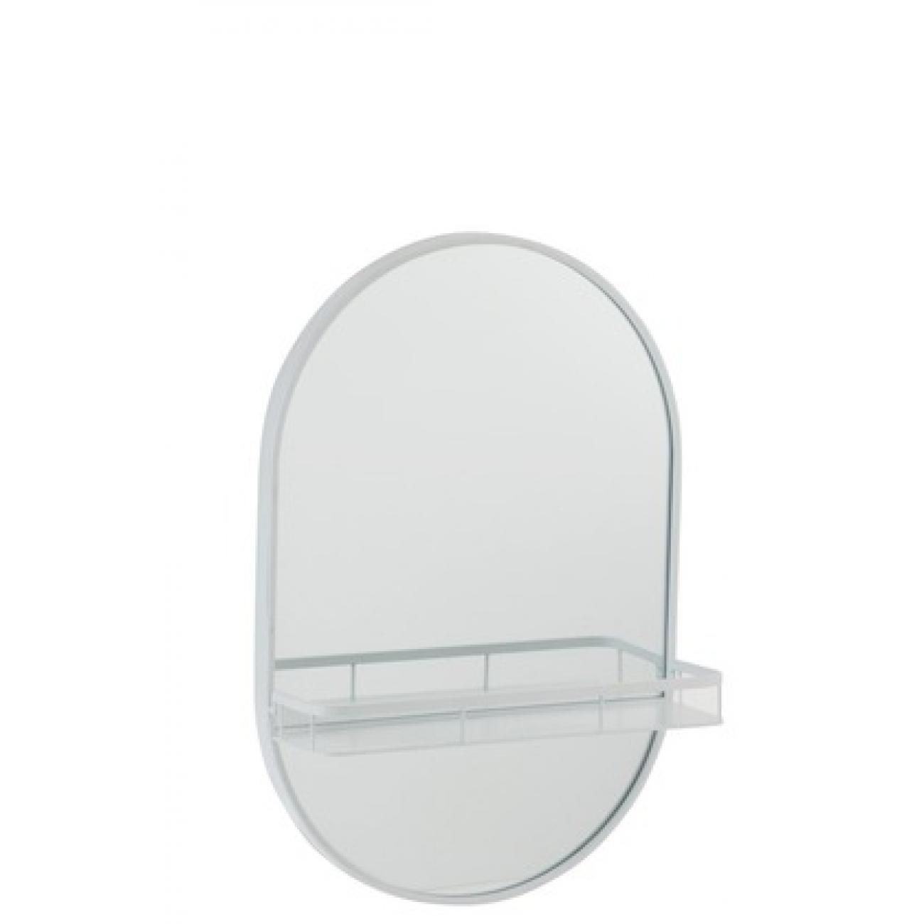 Зеркало J-LINE овальное настенное в металлической раме с полкой белое 40х60 см Бельгия