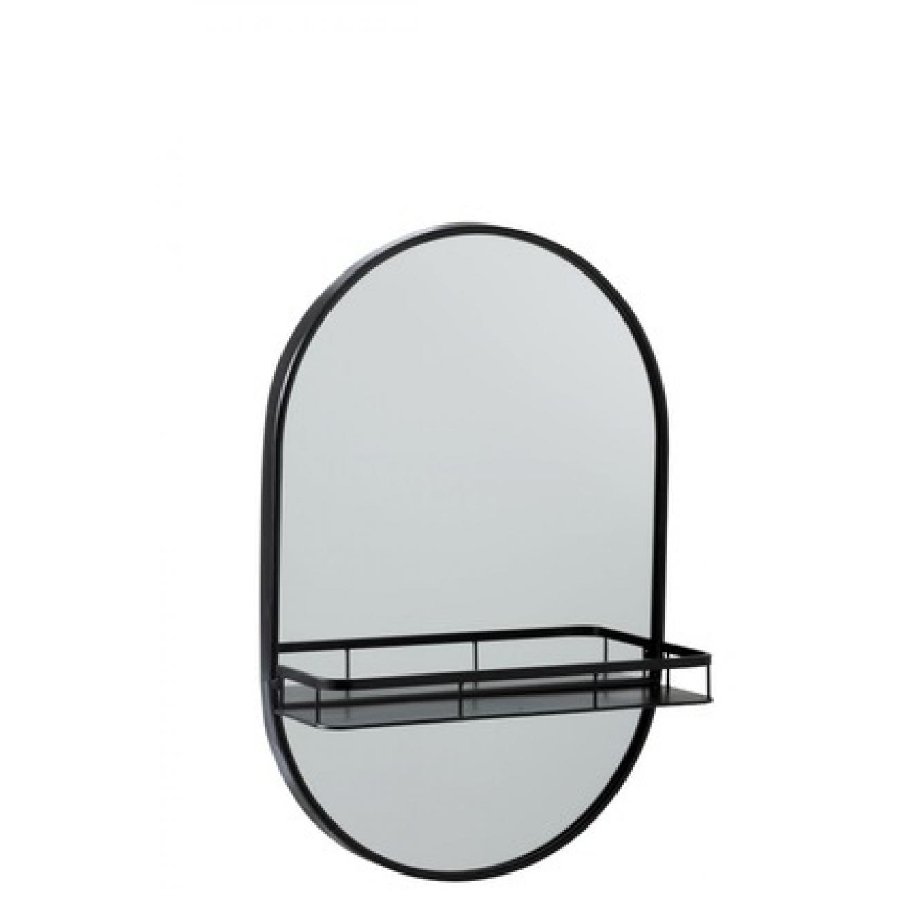 Зеркало J-LINE овальное настенное в металлической раме с полкой черное 40х60 см Бельгия