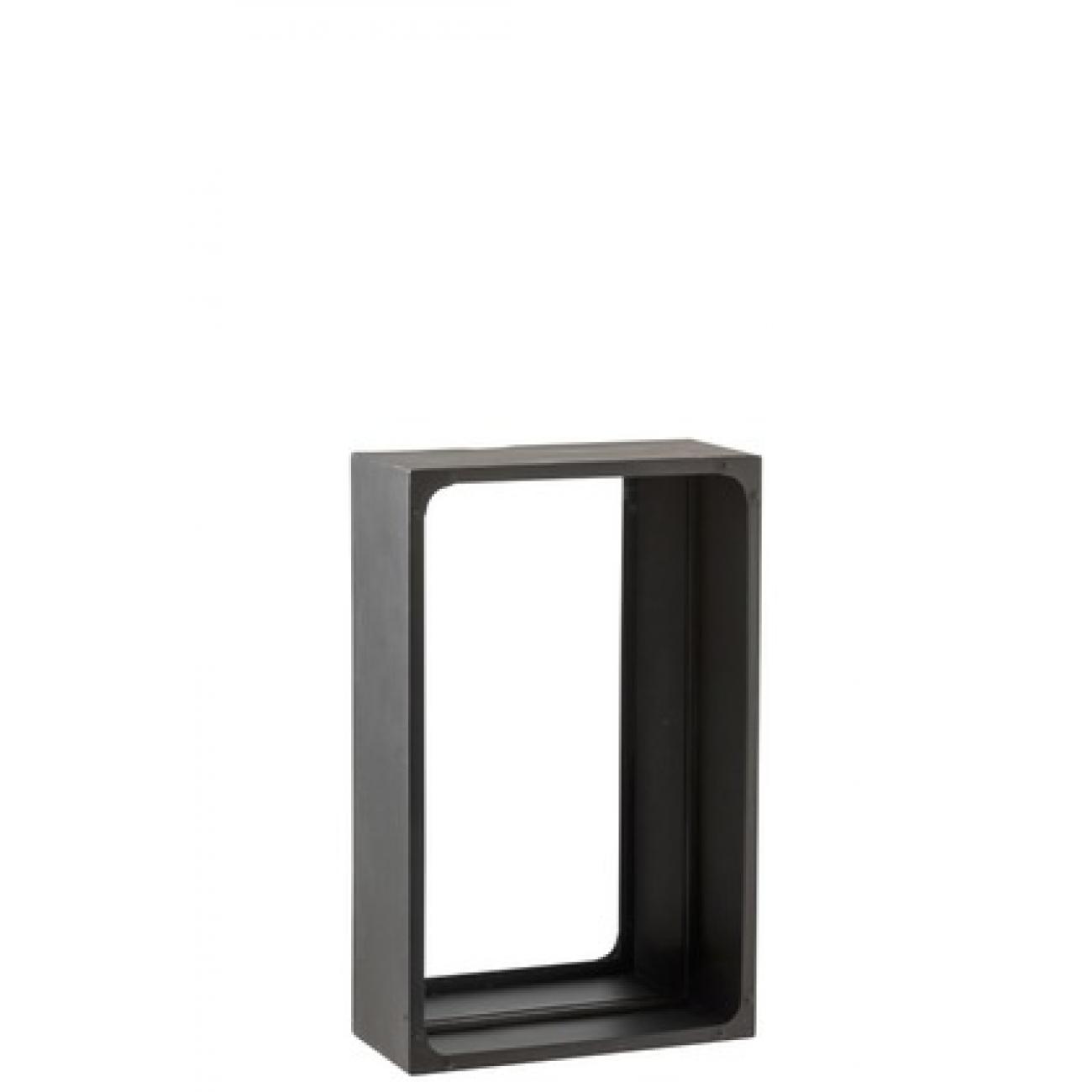 Прямоугольное настенное зеркало J-LINE в металлической раме с углублением черное 56х35,5 см Бельгия