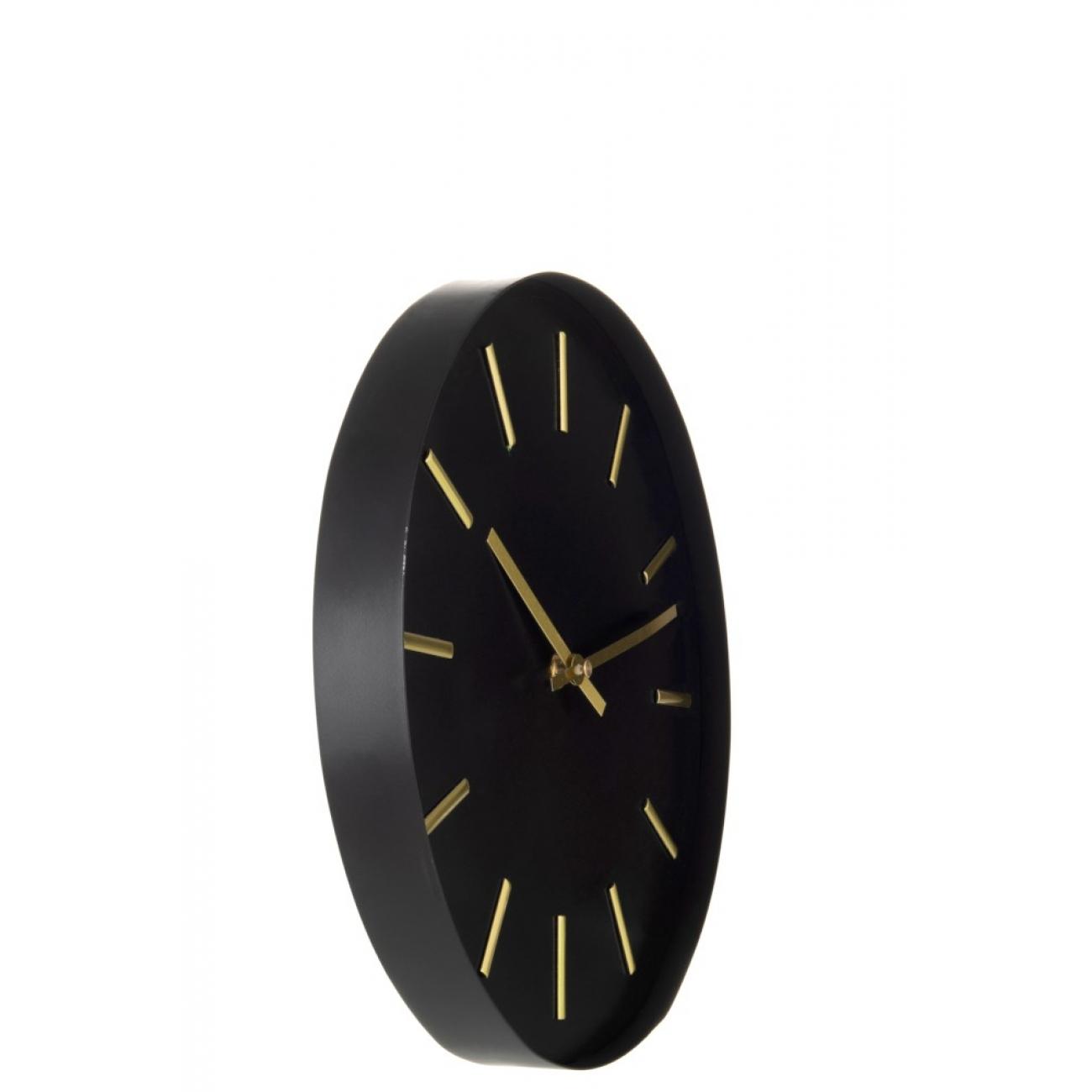 Настенные часы J-LINE круглые в металлическом корпусе черные диаметр 31 см
