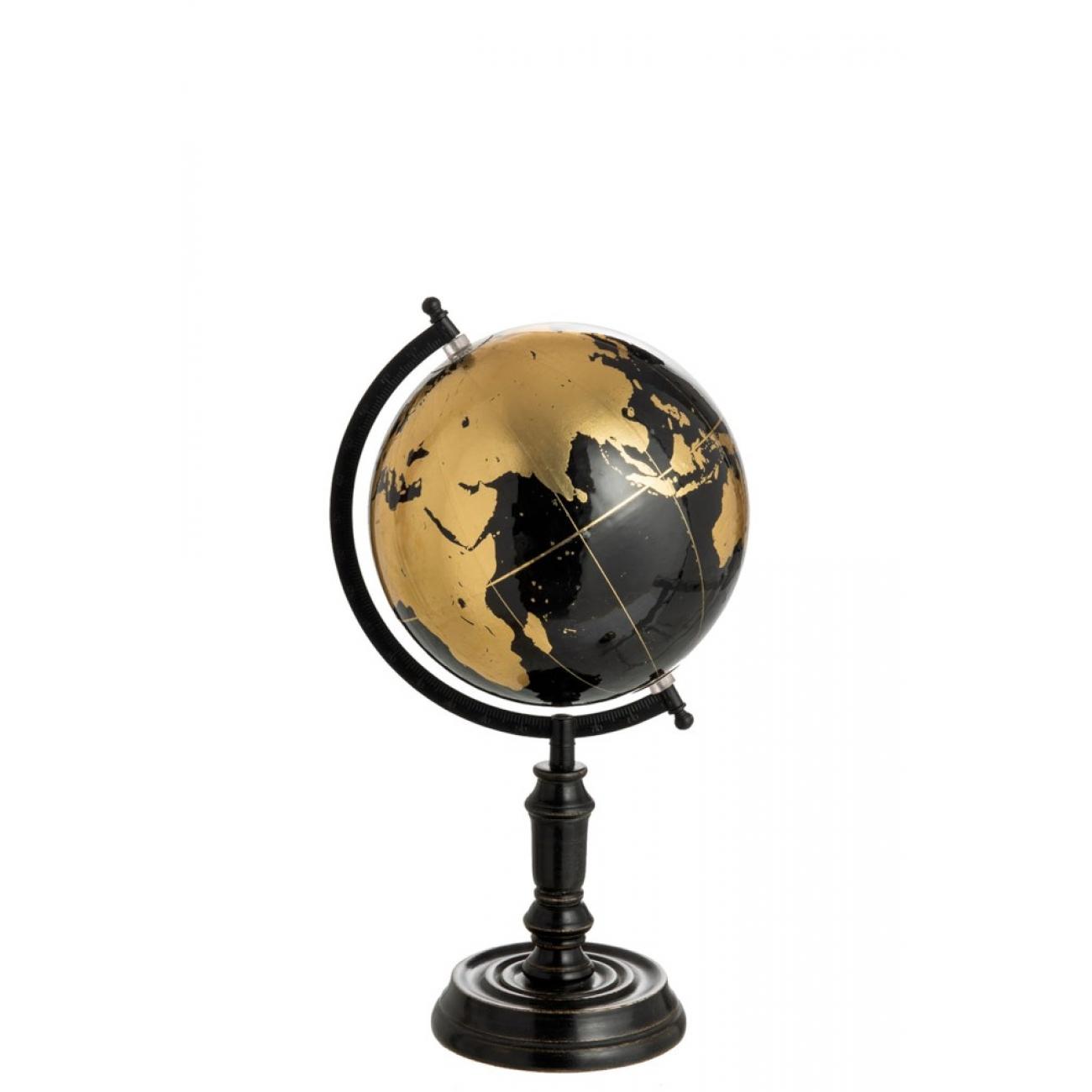 Глобус J-LINE на деревянной подставке черный диаметр 25 см
