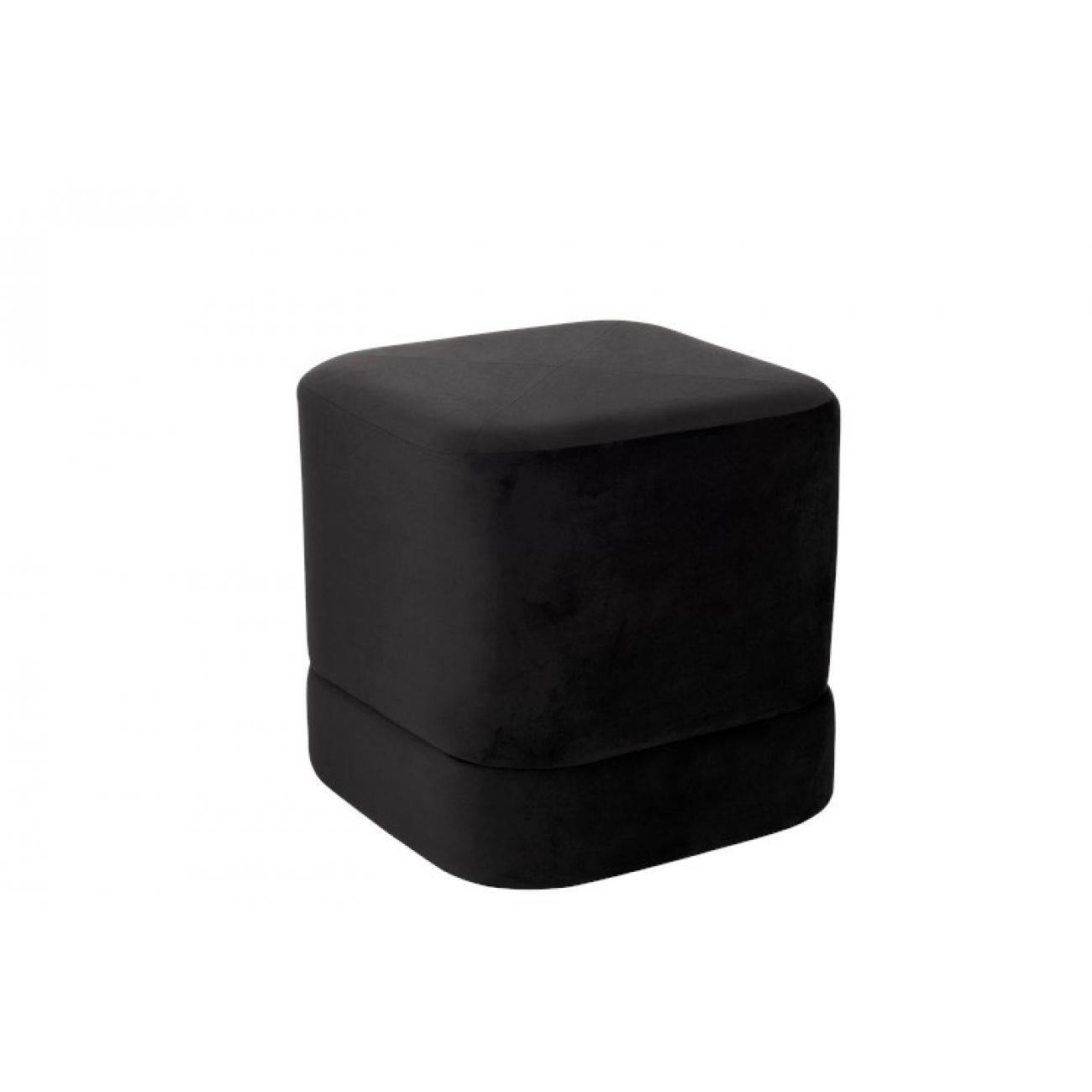 Пуф черный вельветовый  J-LINE 46х46х46 см