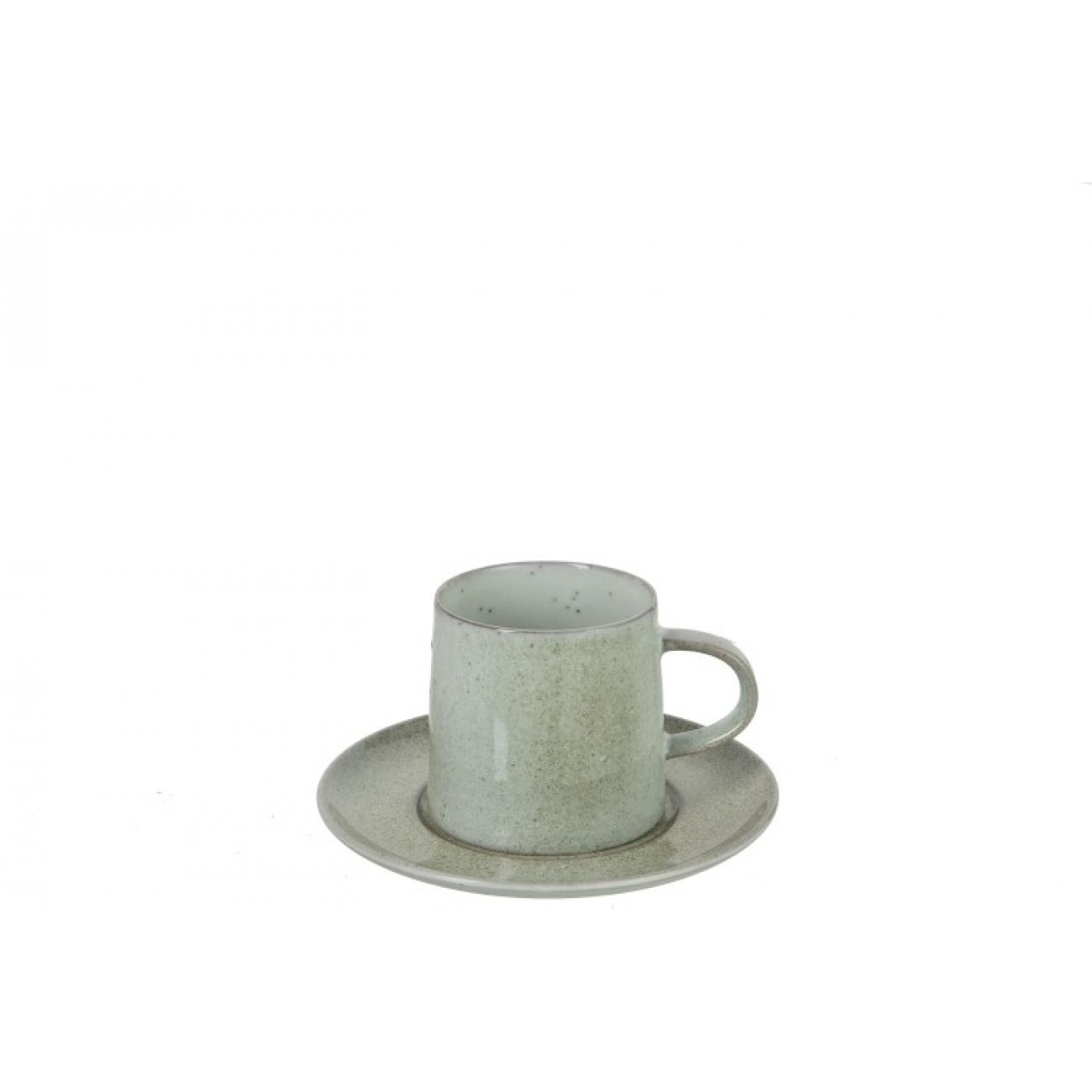 Фарфоровая чашка и блюдце   J-LINE мятного цвета 250 мл