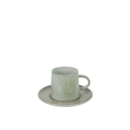 Чашка и блюдце  J-LINE мятного зеленого цвета фарфор 250 мл Бельгия