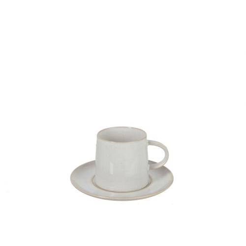 Чашка и блюдце  J-LINE белого цвета фарфор 250 мл Бельгия