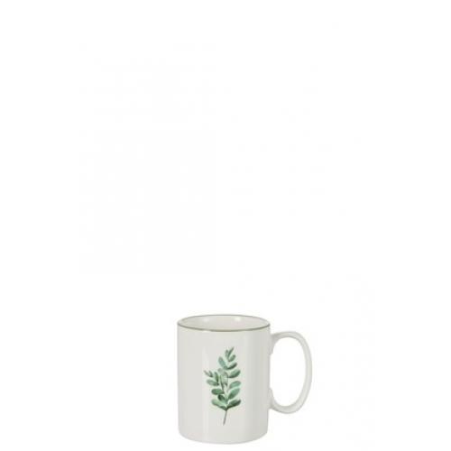 Чашка  J-LINE фарфоровая с эвкалиптом 250 мл белая