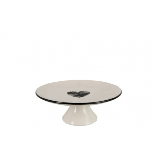 Блюдо-тортовница J-LINE керамическая на подставке белая с черным сердцем диаметр 28 см