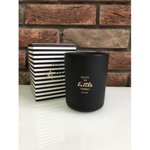 Свеча J-LINE ароматическая  в черной  фарфоровой шкатулке  Аромат бергамот белый чай и цитрус