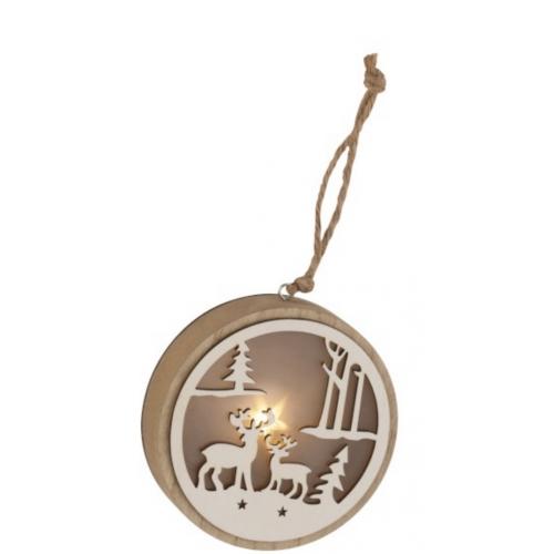 Елочная игрушка J-LINE деревянная круглой формы коричневого цвета с лед-подсветкой 12х12 см