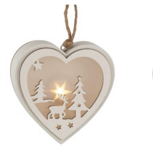 Елочная игрушка J-LINE деревянная в форме сердца белого цвета с лед-подсветкой 12х12 см