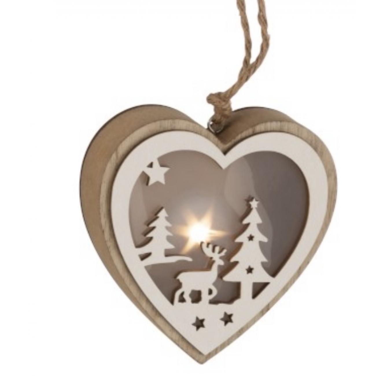 Елочная игрушка J-LINE деревянная в форме сердца коричневого цвета с лед-подсветкой 12х12 см