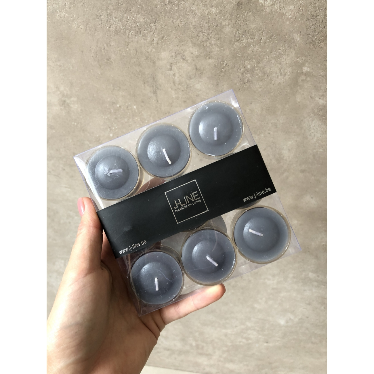Чайные свечи J -LINE набор из 9 штук серого цвета